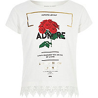 Girls white 'admire' crochet hem T-shirt