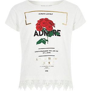 T-shirt «Admire» à ourlet crochet blanc pour fille