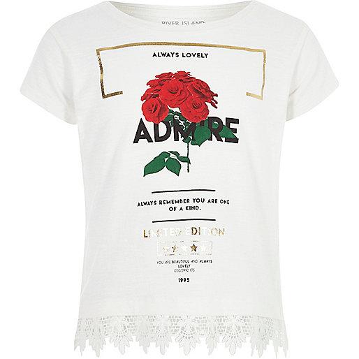 Girls white 'admire' crochet hem T-shirt