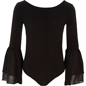 Zwarte body van mesh met wijduitlopende mouwen voor meisjes