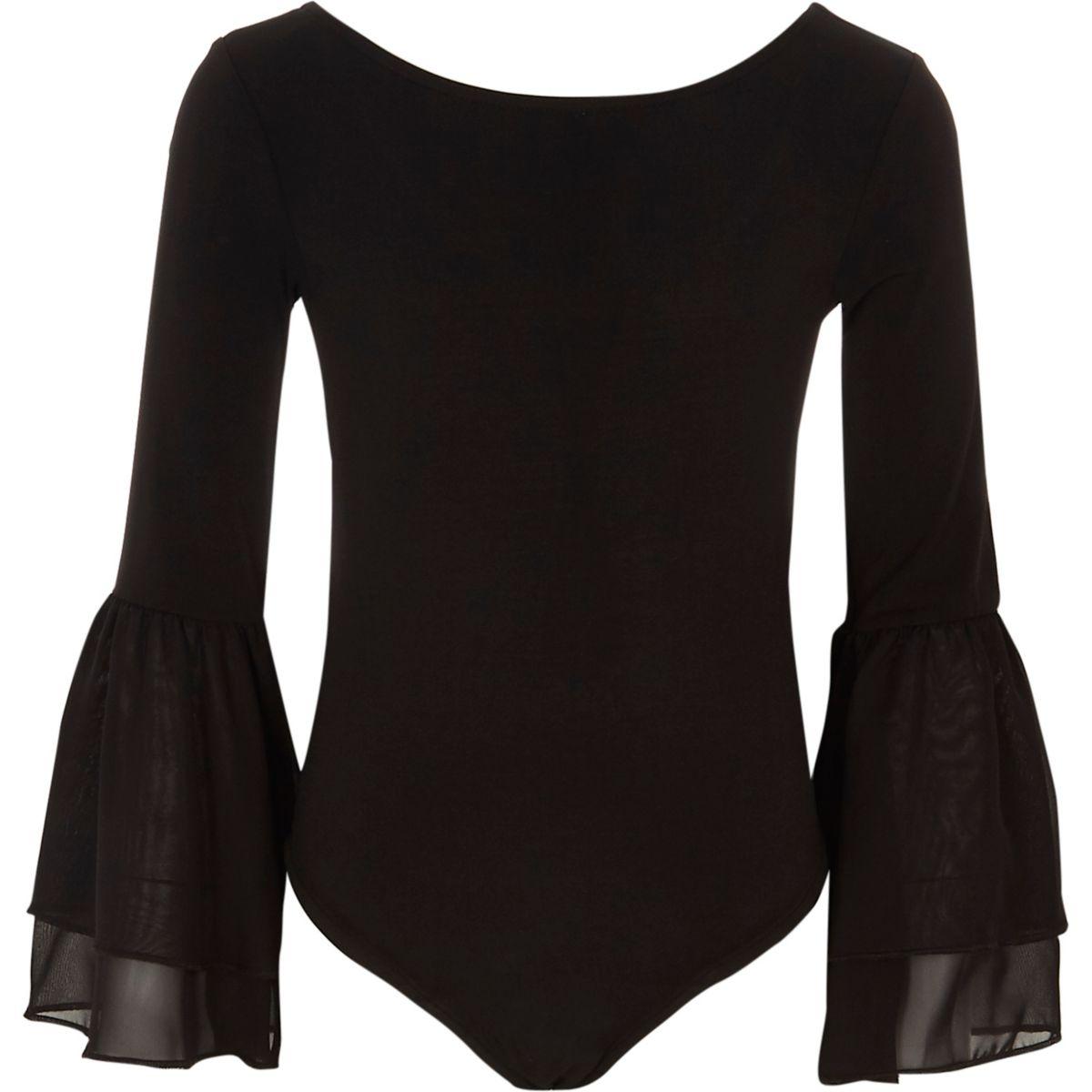 Girls black mesh flute sleeve bodysuit