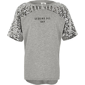 Girls grey marl 'sequins all day' T-shirt