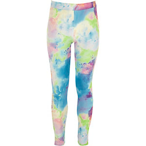 Girls blue multicoloured paint splat leggings