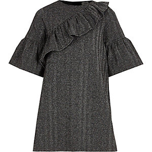 Girls grey asymmetric frill T-shirt dress