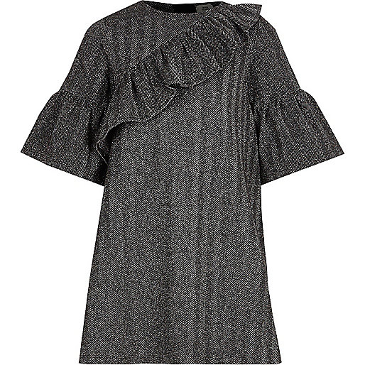 Girls grey lurex frill T-shirt dress