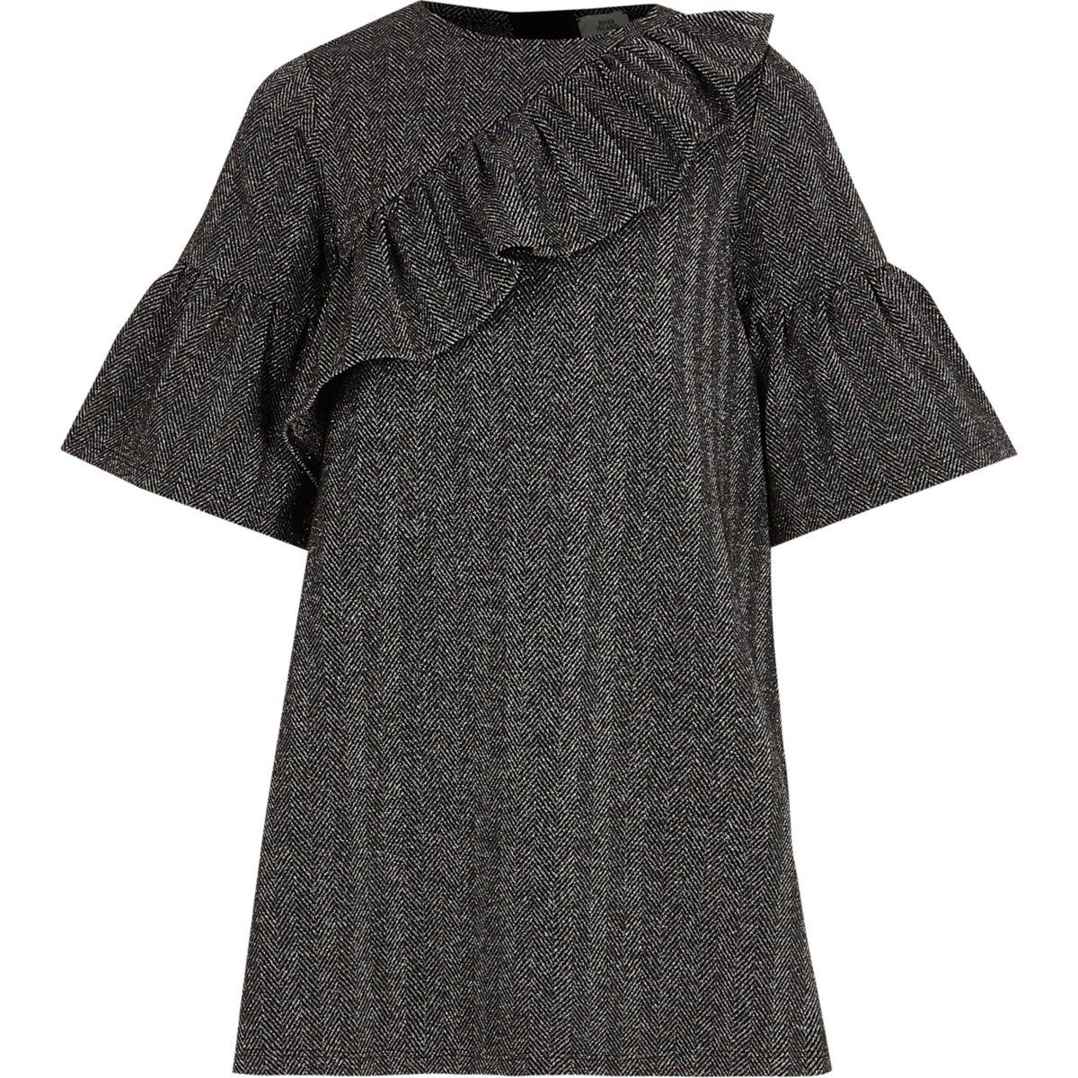 Girls grey asymmetric frill T-shirt dress