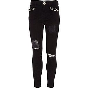Amelie - Zwarte ripped superskinny jeans voor meisjes