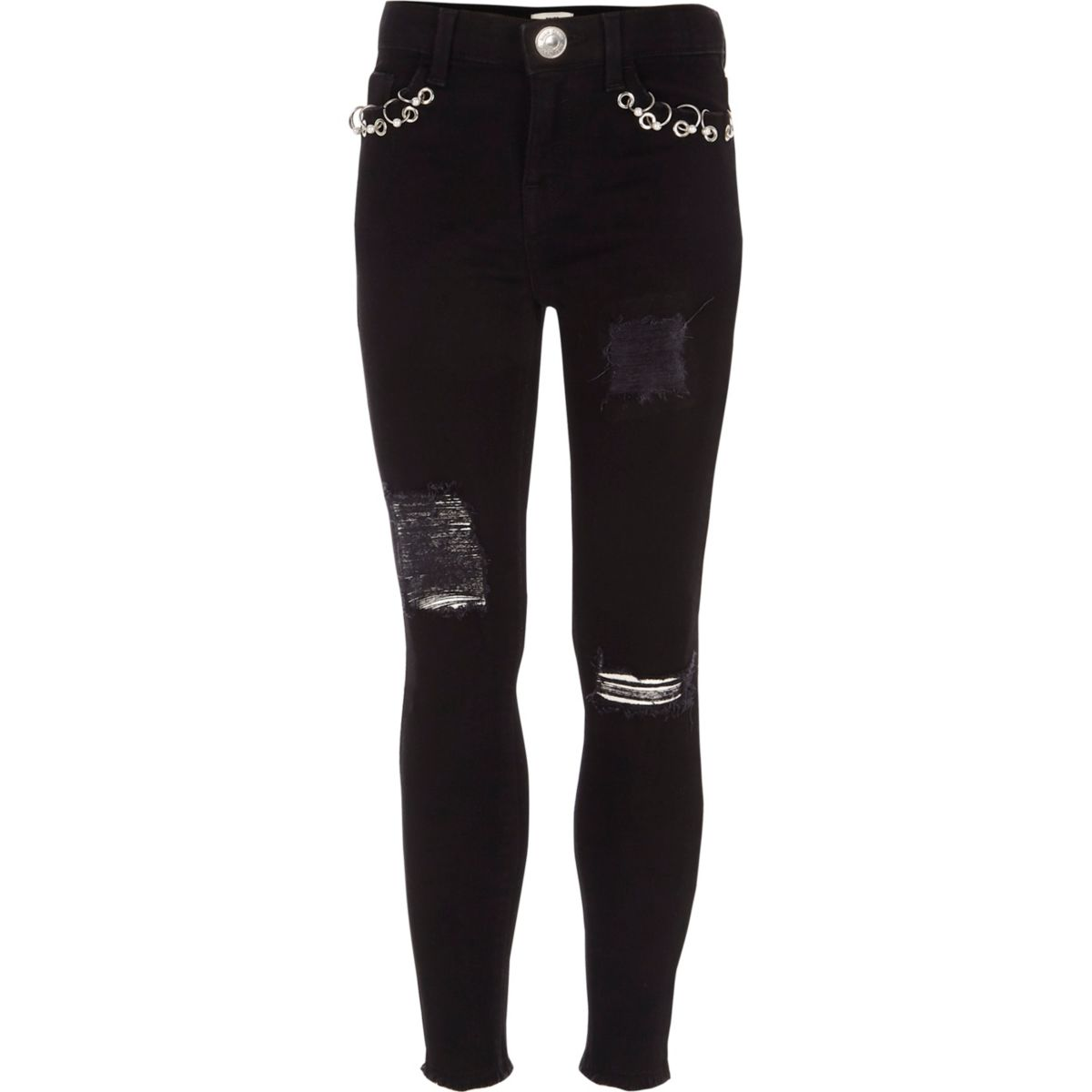 Girls black Amelie ripped super skinny jeans