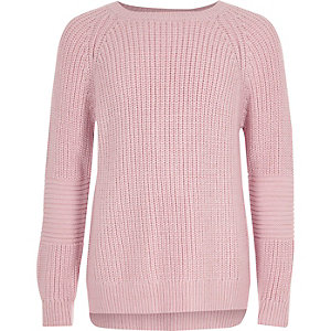 Girls pink cross open back knit sweater