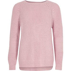 Roze gebreide pullover met blote rug voor meisjes