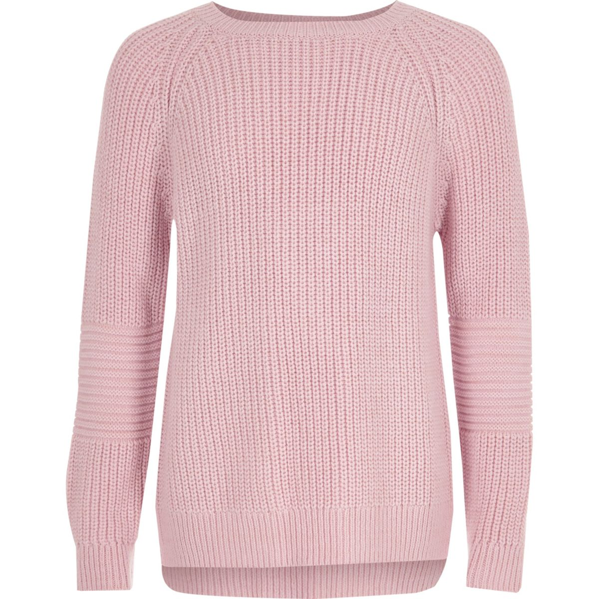 Girls pink cross open back knit jumper