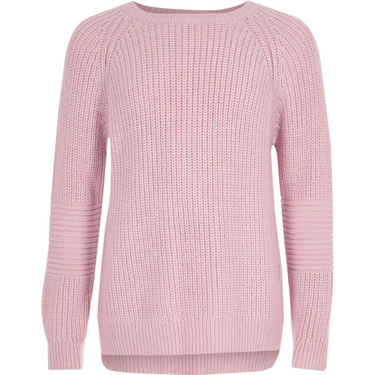 Girls pink cross open back knit sweater