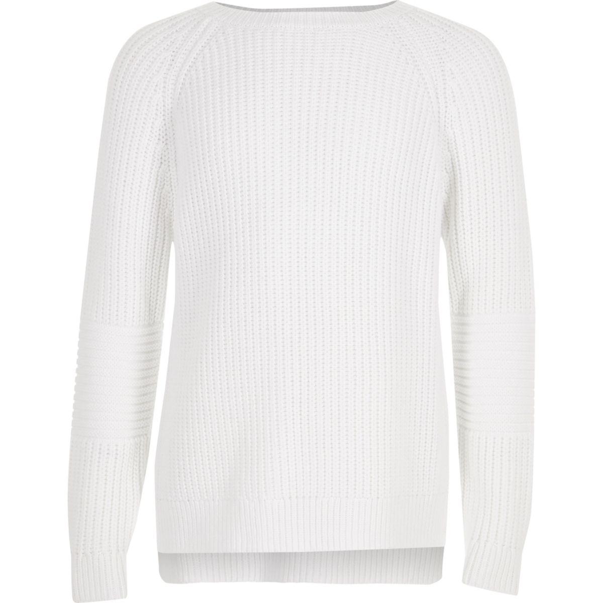 Girls white cross open back knit sweater