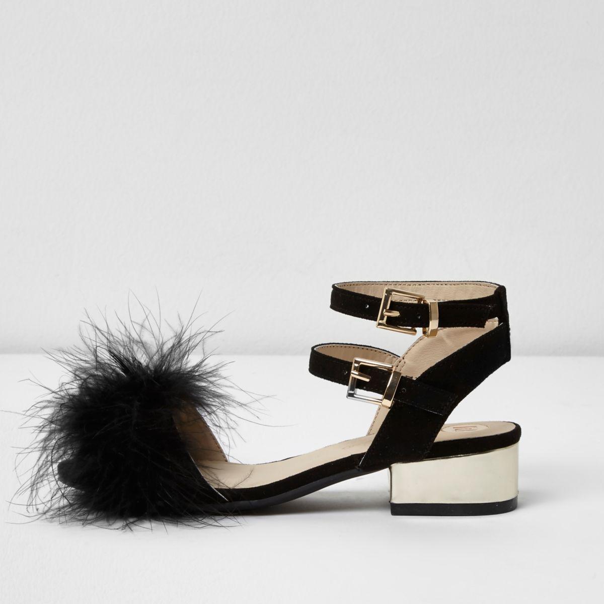 Girls black feather front block heel sandals