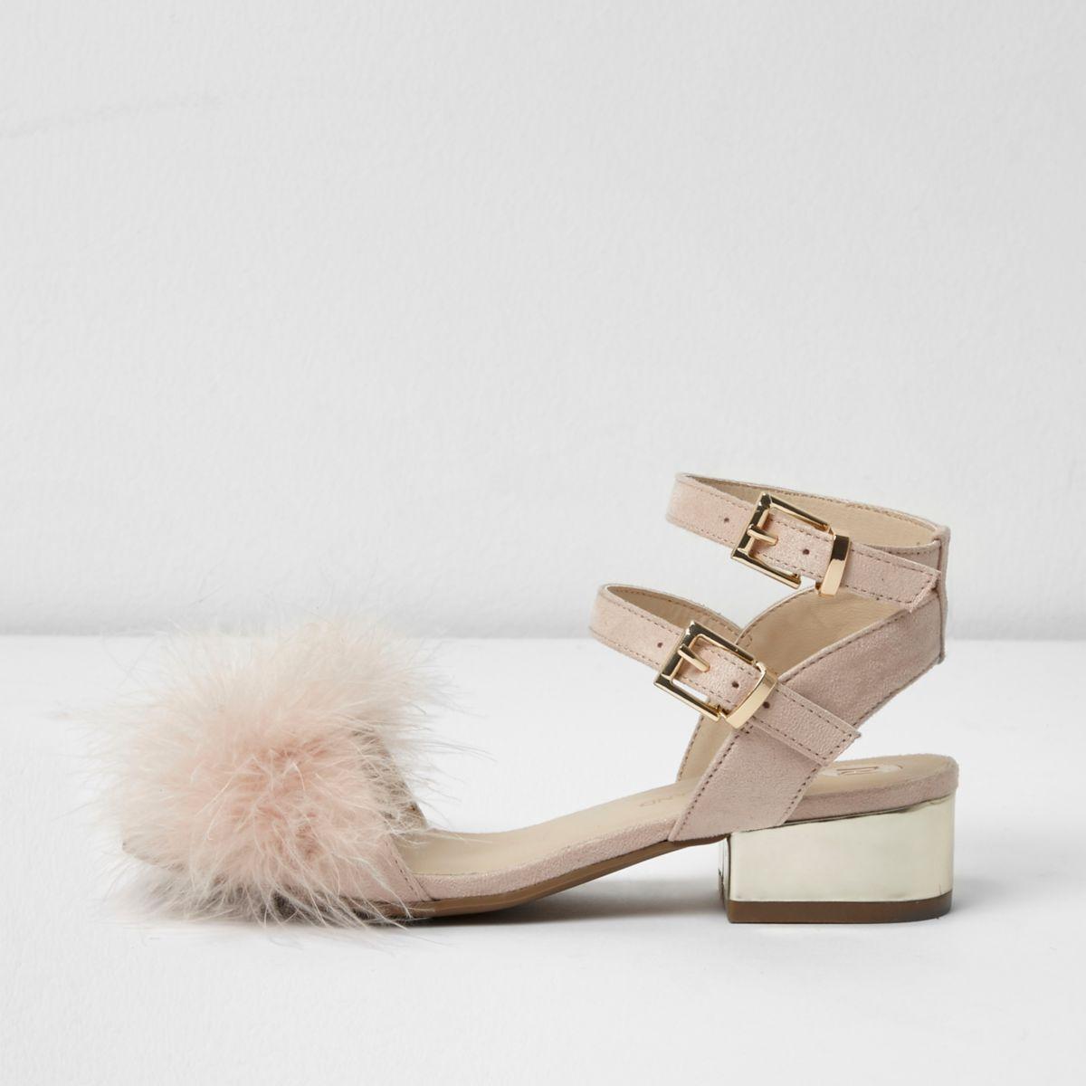 Girls pink feather front block heel sandals