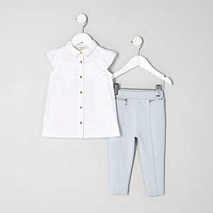 Mini girls white frill shirt outfit