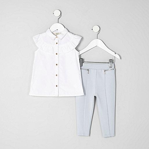 Mini girls white frill shirt outfit