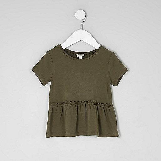 Mini girls peplum hem short sleeve T-shirt