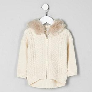 Mini girls cream cable knit fur trim hoodie