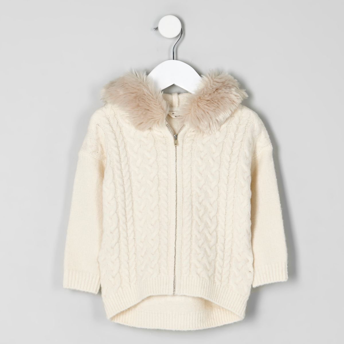Mini girls cream cable knit faux fur hoodie