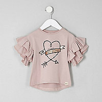 Mini girls pink 'heartbreaker' frill T-shirt
