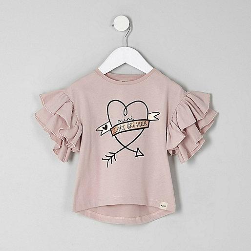 Mini girls pink 'heartbreaker' frill T-shirt