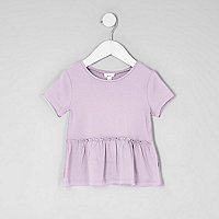 Mini girls peplum hem short sleeve T-shirt