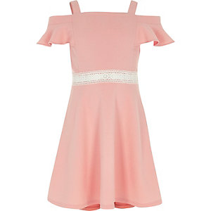 Girls coral crochet waist cold shoulder dress