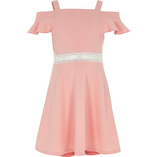 Girls coral crochet waist cold shoulder dress