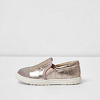 Mini girls pink metallic camo plimsolls