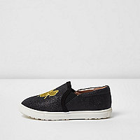 Mini girls black glitter queen bee plimsolls