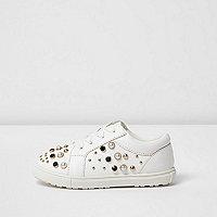 Mini girls white embellished lace-up trainers