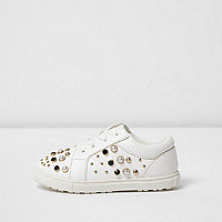 Mini girls white embellished lace-up sneakers