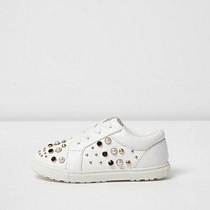 Baskets blanches ornées à lacets mini fille
