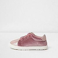 Mini - Roze fluwelen sneakers met vetersluiting voor meisjes