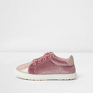 Mini girls pink velvet lace-up sneakers