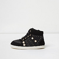 Mini girls black studded hi top trainers