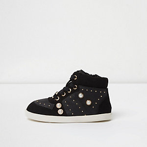 Mini girls black studded high top trainers