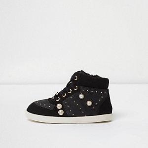 Mini - Zwarte hoge sneakers met studs voor meisjes