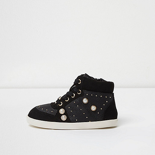 Mini girls black studded hi top sneakers