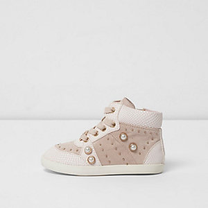 Mini girls pink embellished high top trainers