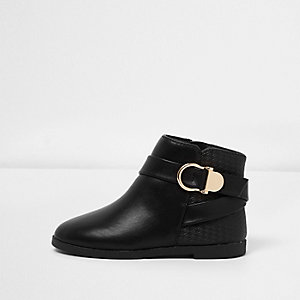 Mini girls black snaffle ankle boots