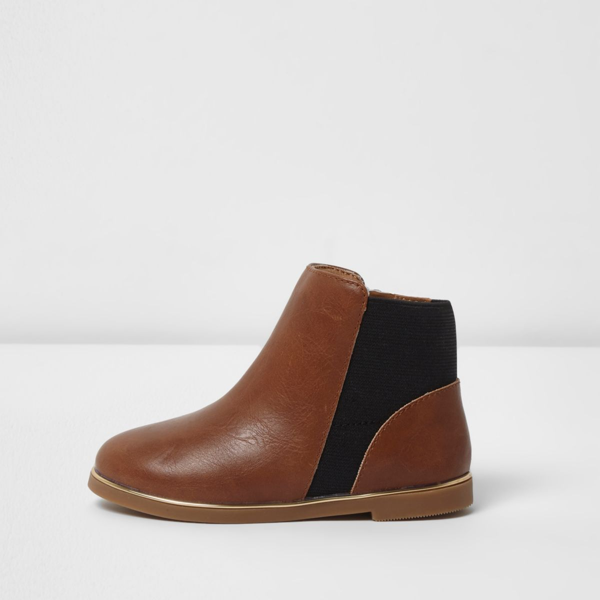 Mini girls tan brown chelsea boots