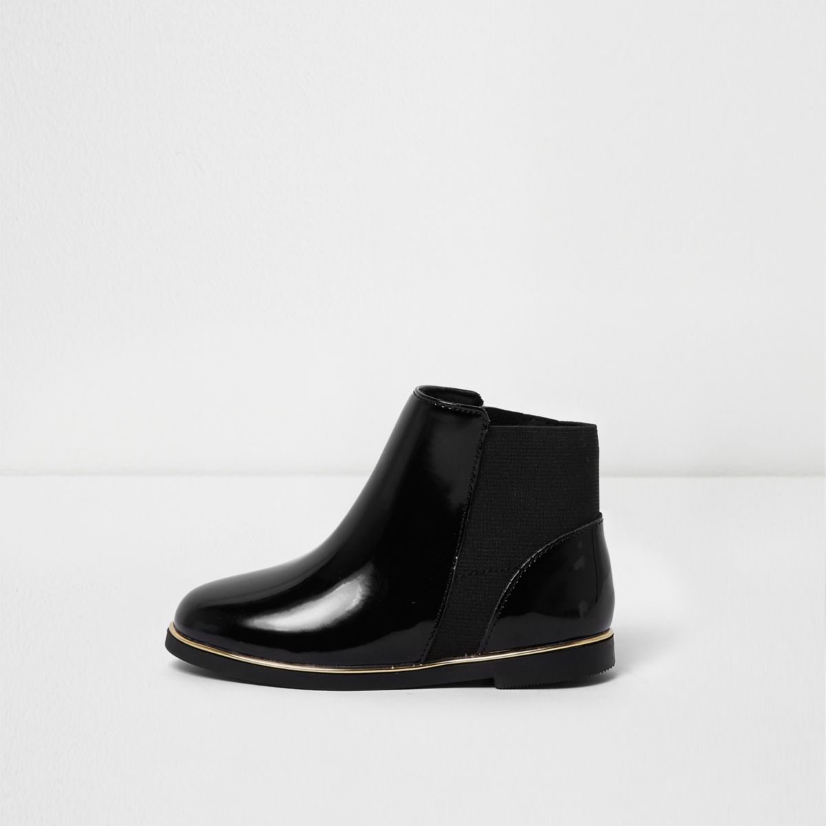 Mini girls black patent chelsea boots