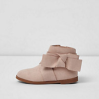Mini girls pink bow detail boots