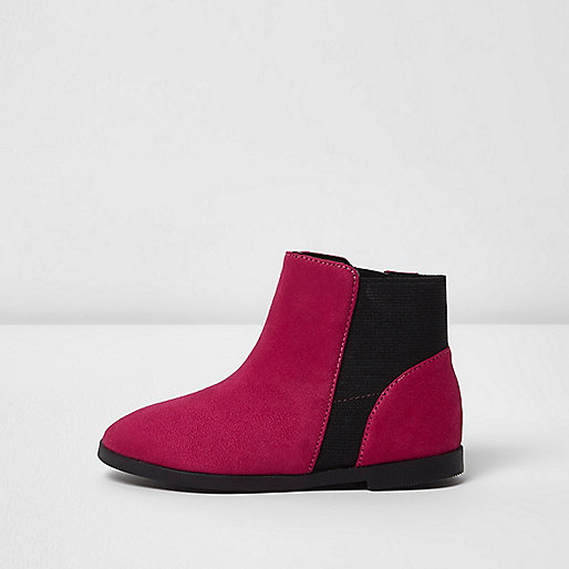 Mini girls hot pink faux suede ankle boots