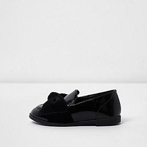 Mini - Zwarte lakleren loafers met fluwelen strik voor meisjes