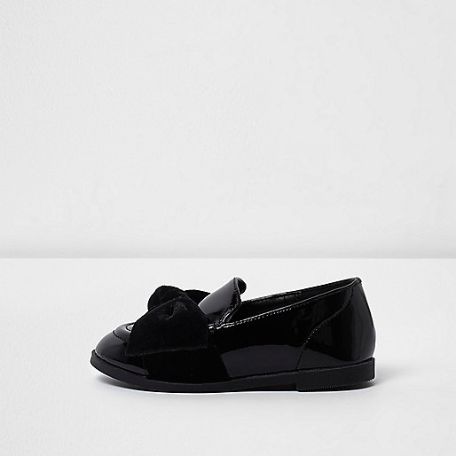 Mini girls black patent velvet bow loafers