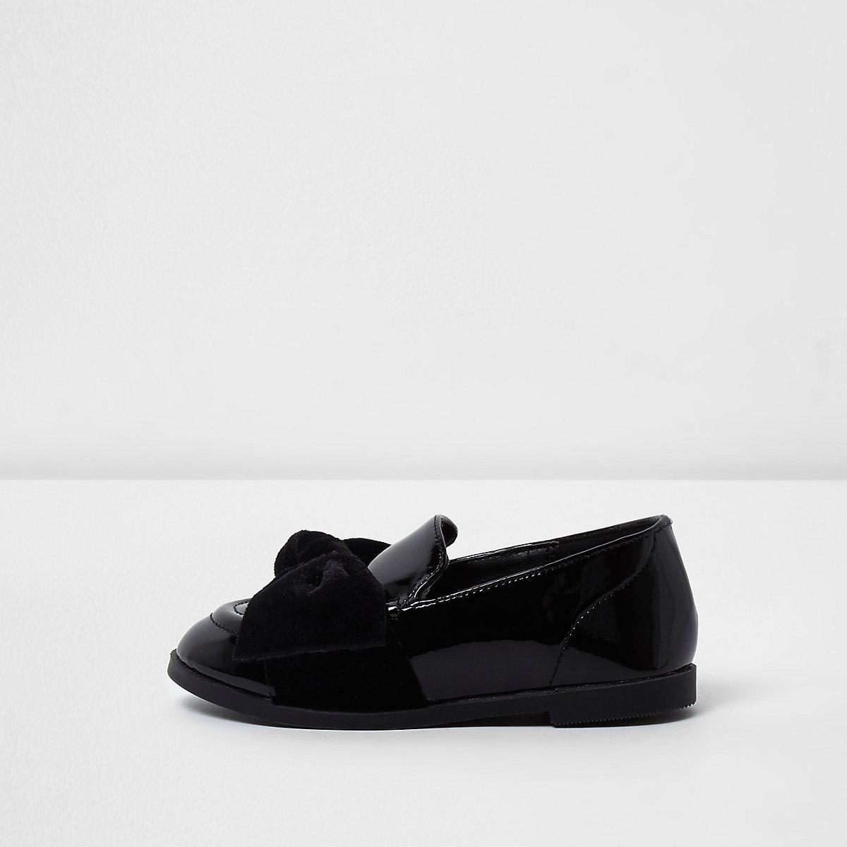 Mini girls black patent velvet bow loafers