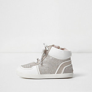 Mini girls white textured hi top trainers